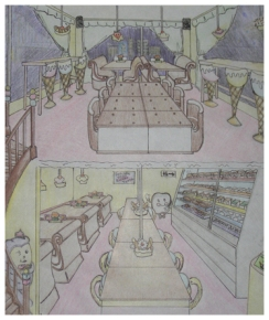 Commercial Space Design: Two levels Ice Cream Shop