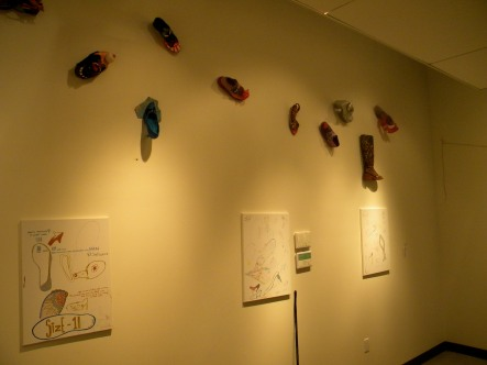 If Shoes Could Talk Exhibit including three canvases were viewers left their imprint and mark