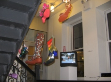 Makor Gallery in Manhattan NY- Art Shoe Installation over staircase