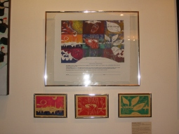 On exhibit linoleum prints and Ketubbahs made with artwork by Jennifer Merdjan