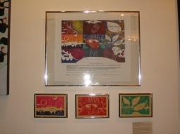 On exhibit linoleum prints and Ketubbahs made with artwork by Jennifer Merdjan