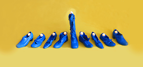Menorah-Jennifer Merdjan, If shoes could Talk, Art with recycled objects