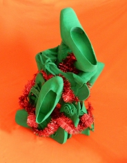 shoe art, art with repurposed shoes, Jennifer Merdjan, if shoes could talk